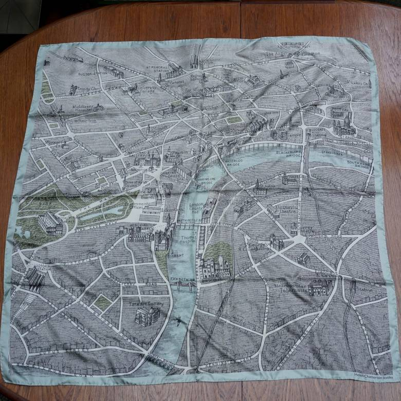 Silk Map Scarf Muted Small by Helen Chatterton Hand Printed