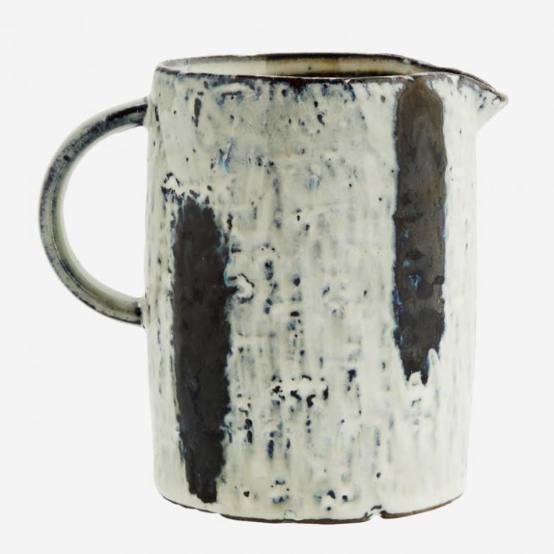 Blue & White Stripe Stoneware Jug H:11.5cm