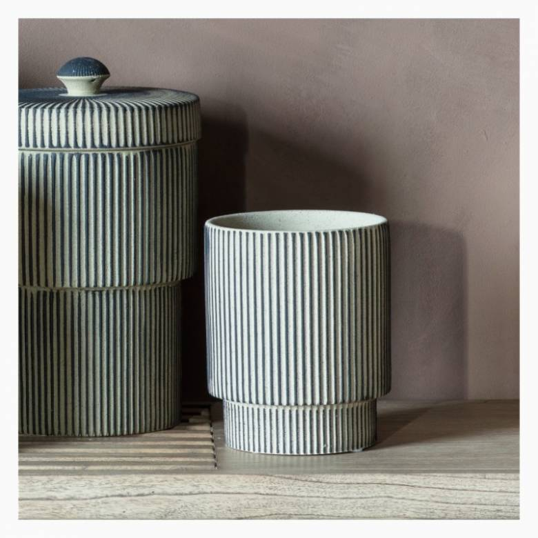 Grey Two-Tiered Striped Plant Pot H:19cm