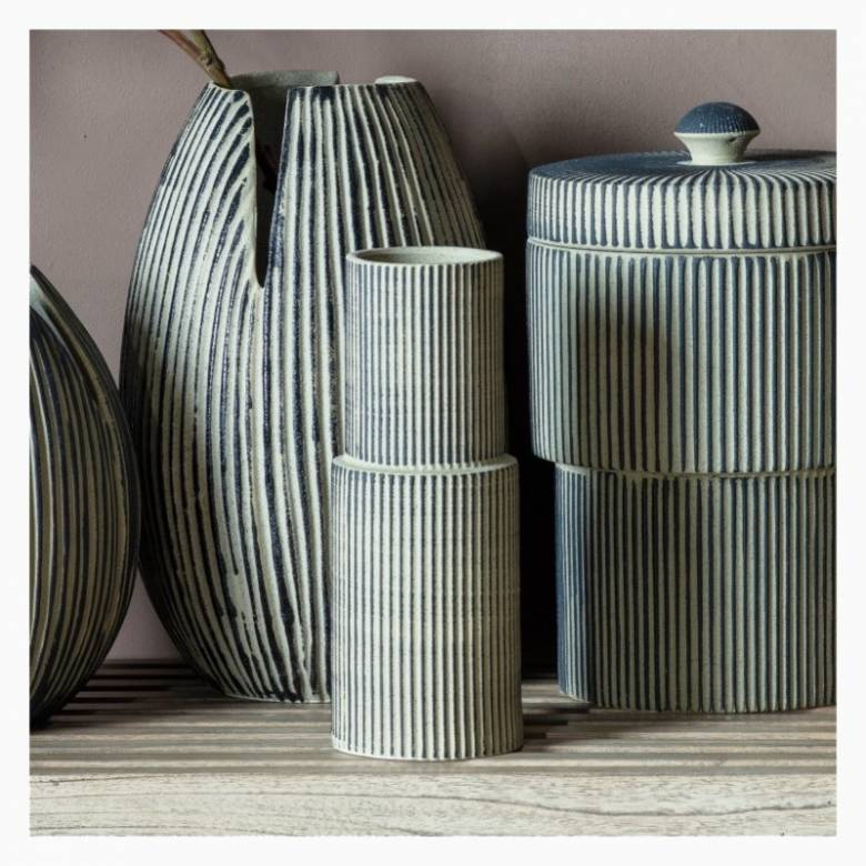 Grey Two-Tiered Striped Vase H: 26.5cm