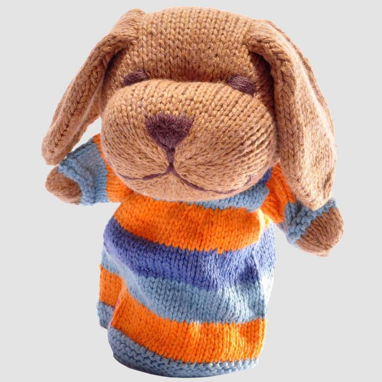 Dog - Blue Stripe Hand Knitted Glove Puppet Organic Cotton