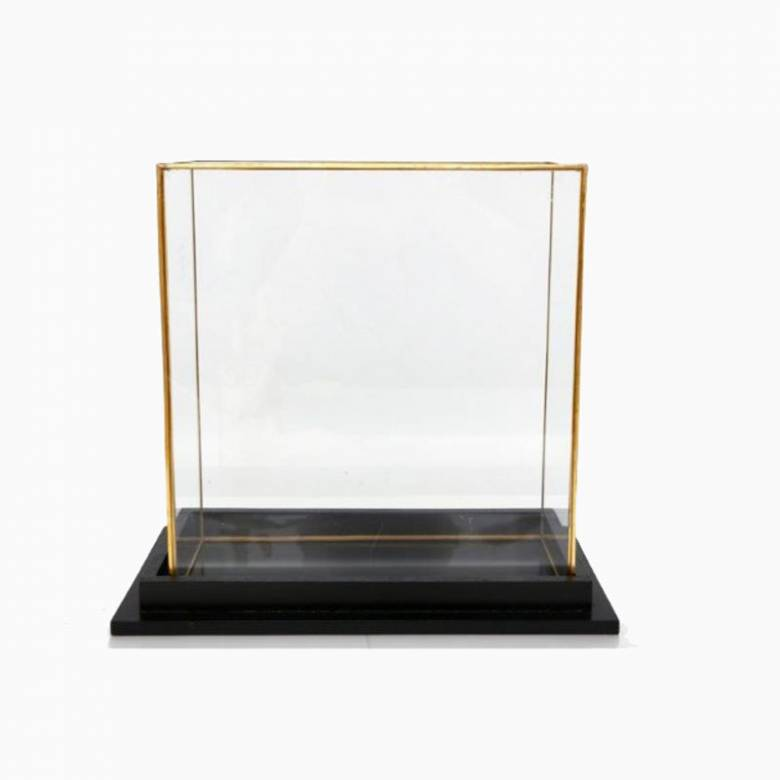 Gold and Glass Rectangular Display Cube