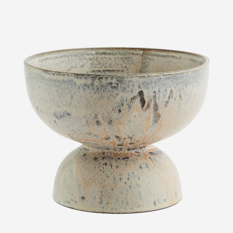 Bowl Shaped Flower Pot On Plinth In Grey & White H:18.5cm