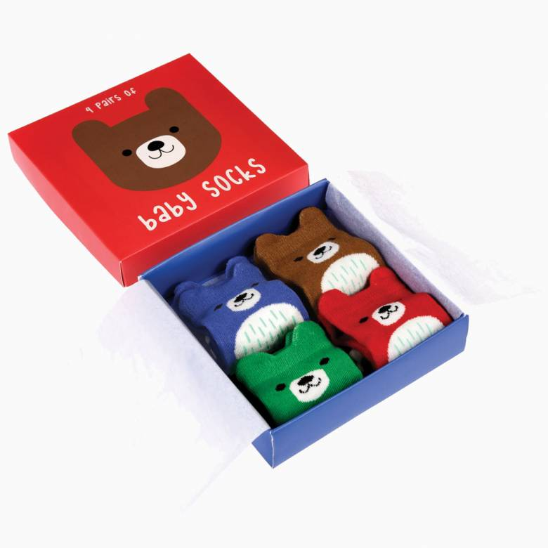 Boxed Set Of 4 Pairs Of Baby Socks - Bear