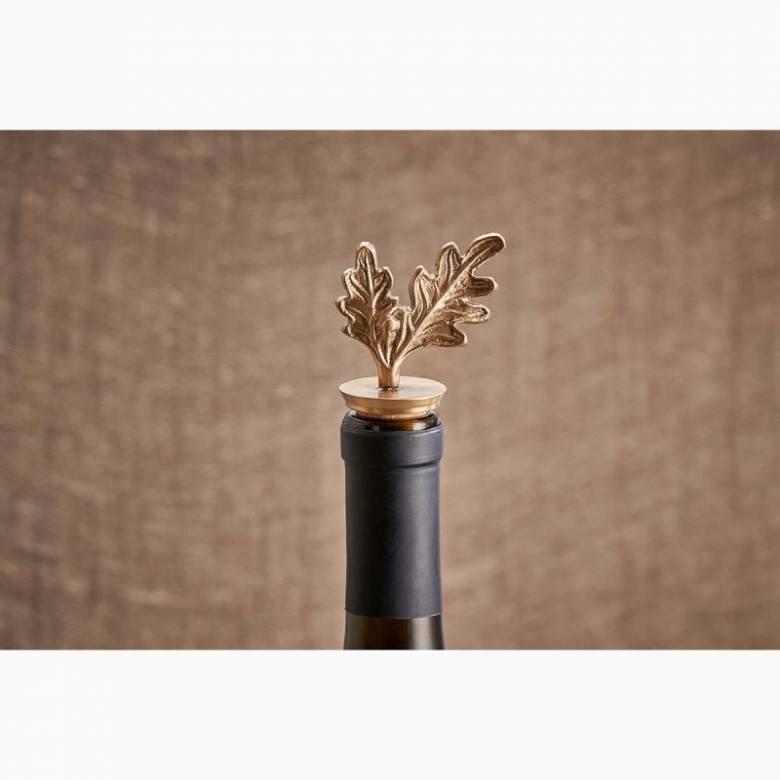 Brass Oak Leaf Bottle Stopper