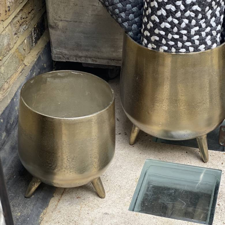 Small Gold Cauldron Planter On Legs