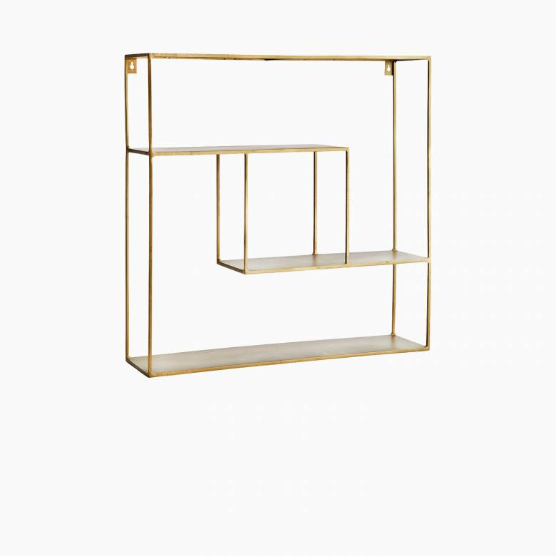 Brass Metal Quad Shelving Unit