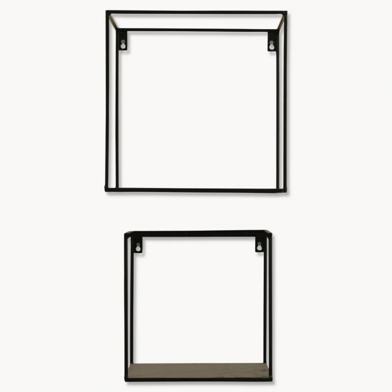 Brenton Square Black Metal Shelf Set of 2