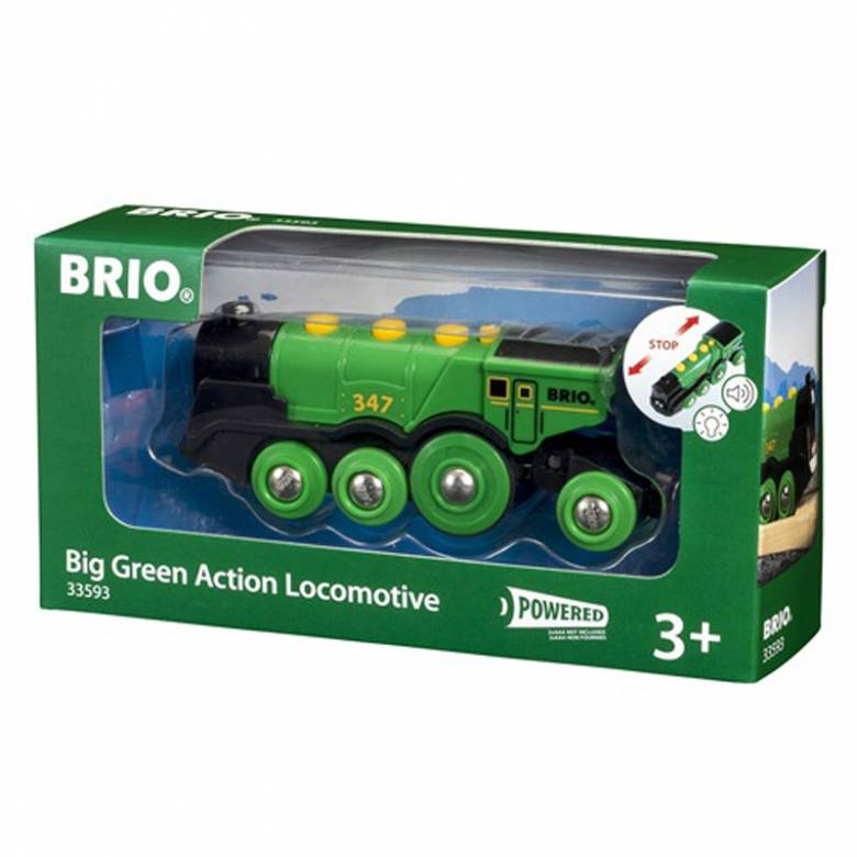 Big Green Action Locomotive Train BRIO Wooden Railway 3+