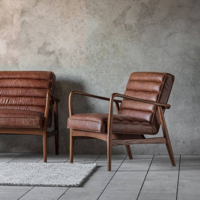 Auto Armchair Brown Leather and Oak Frame