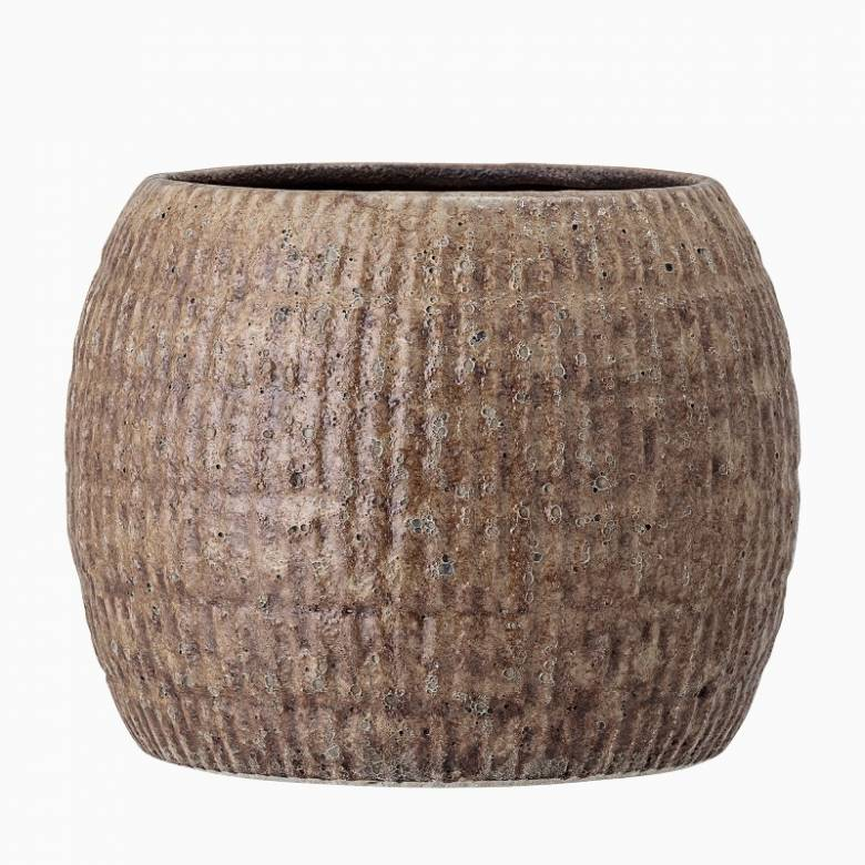 Brown & Beige Stoneware Textured Flower Pot