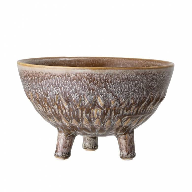 Brown Mottled Glaze Flower Pot On Tripod Legs H:11.5cm