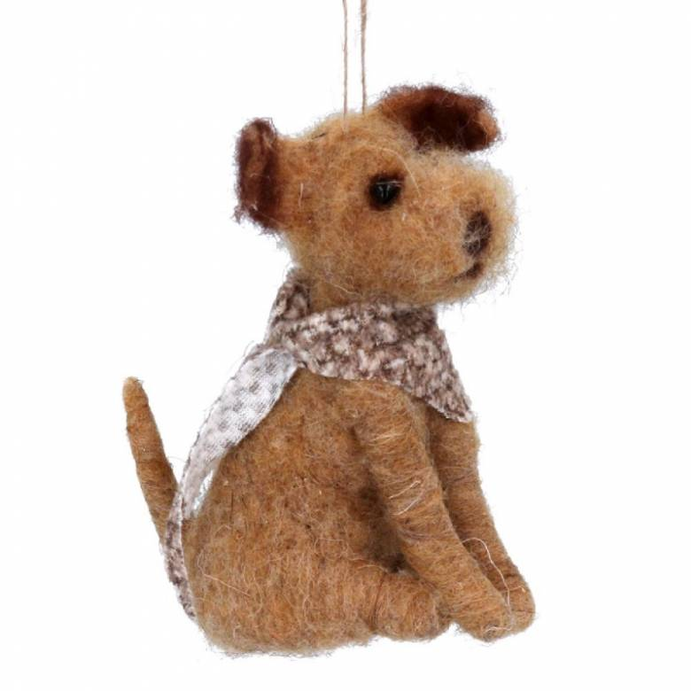 Brown Welsh Terrier Dog With Scarf Wool Christmas Decoration
