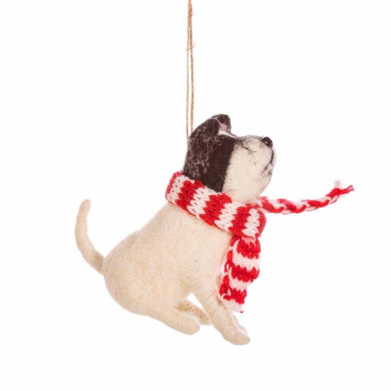 Black & White Dog With Scarf Felt Hanging Christmas Decoration
