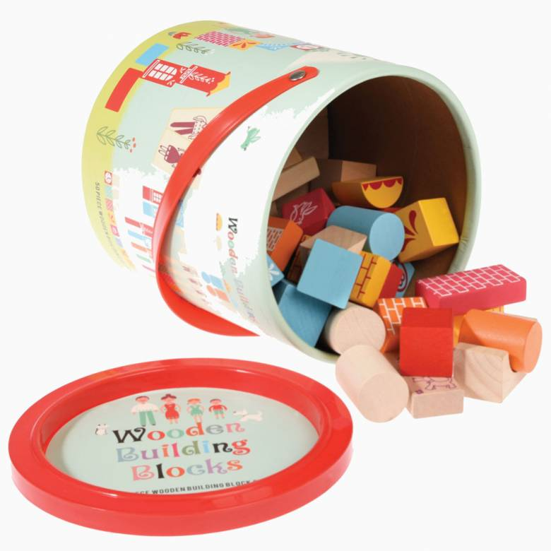 Bucket Of 50 Wooden Building Blocks Set