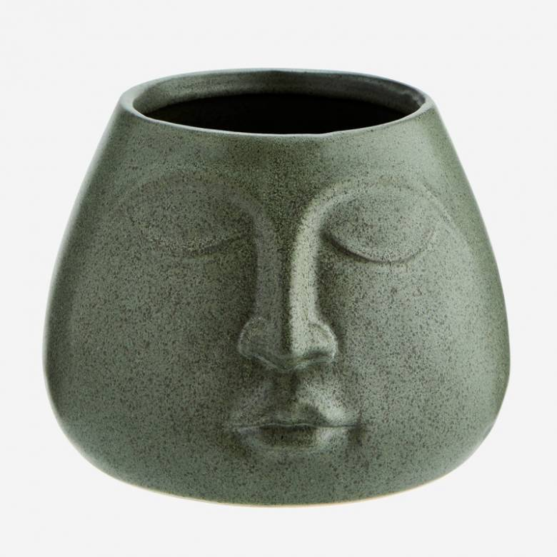 Bulbous Face Imprint Vase In Green