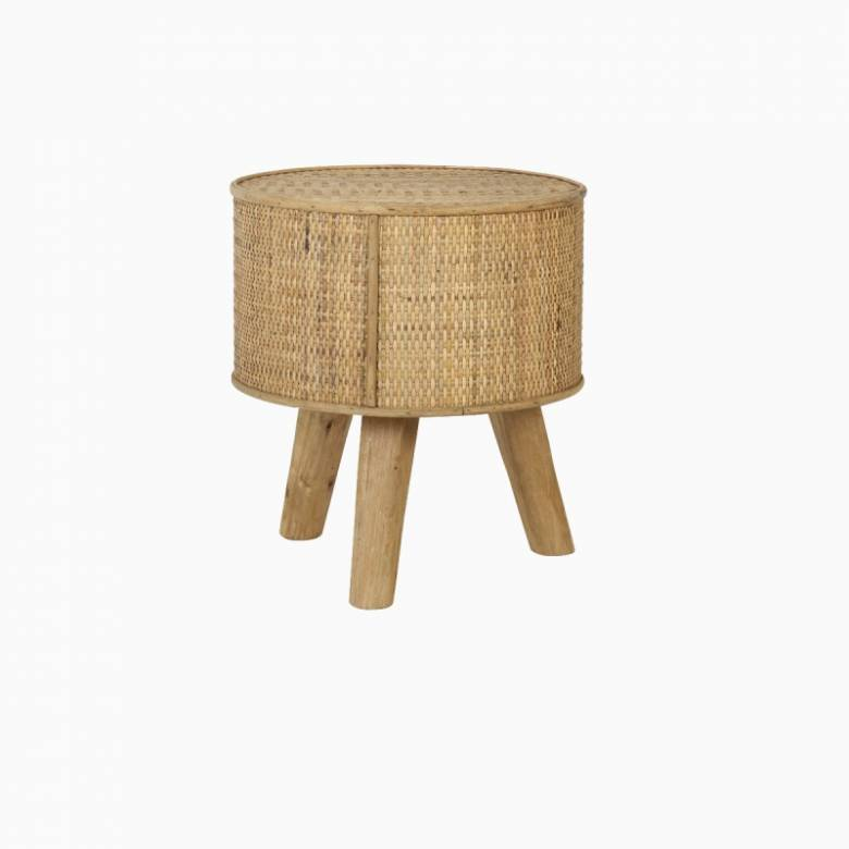 Canya Circular Woven Cane Side Table In Natural Cane