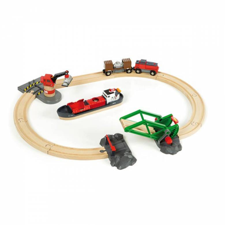 Cargo Harbour Set BRIO Wooden Railway 3+