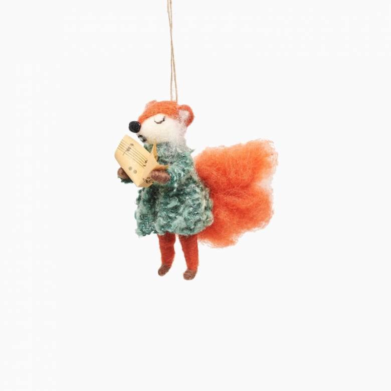Carolling Fox Felt Hanging Christmas Decoration