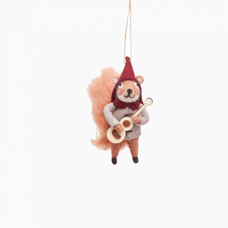 Carolling Squirrel Felt Hanging Christmas Decoration