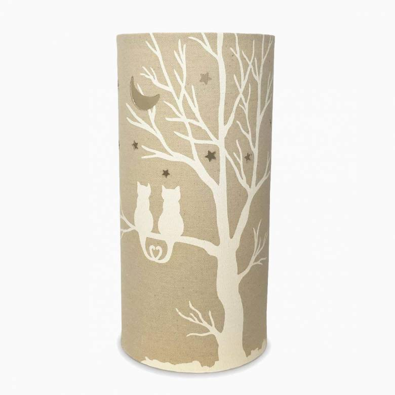 Cat Love - Cylindrical Fabric Lamp