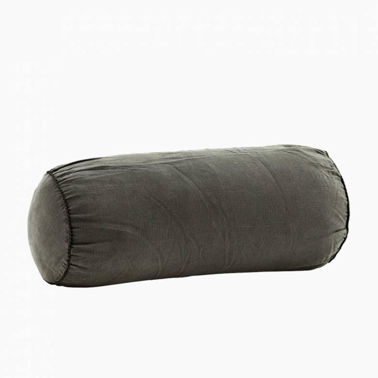 Charcoal Linen bolster cushion D:20x50 cm