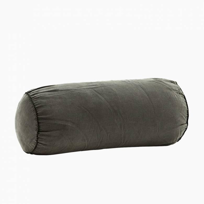 Charcoal Linen bolster cushion D:20x50 cm