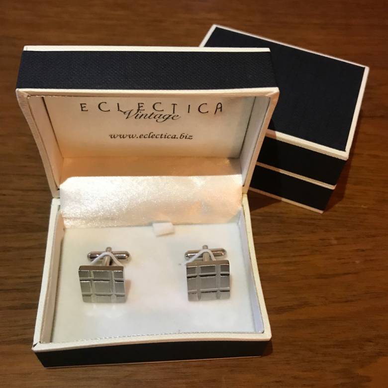 Vintage 1980s Metal Checked Cufflinks