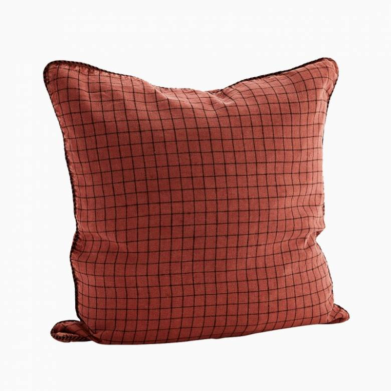 Checked Linen Cushion In Coral 50x50cm