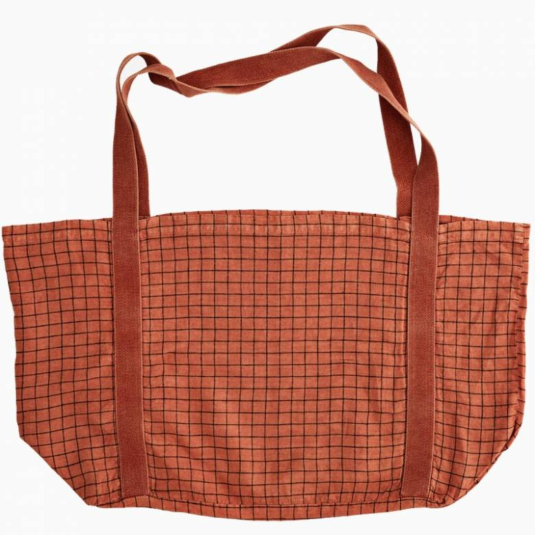 Large Checked Linen Tote Bag In Dark Coral