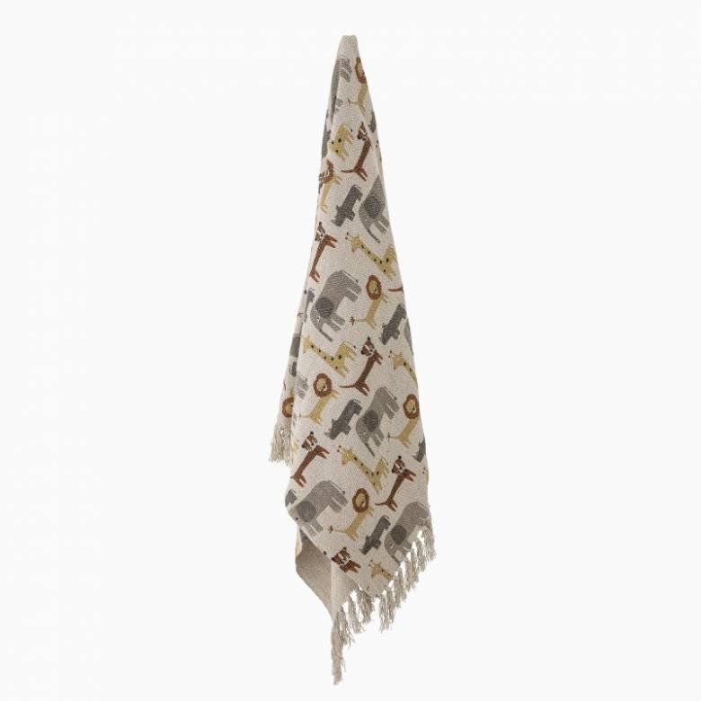 Children's Cotton Blanket Throw In Animal Print