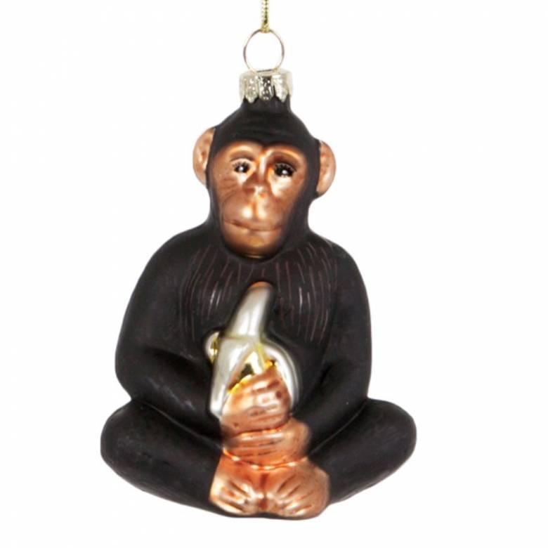 Chimpanzee With Banana Glass Christmas Decoration