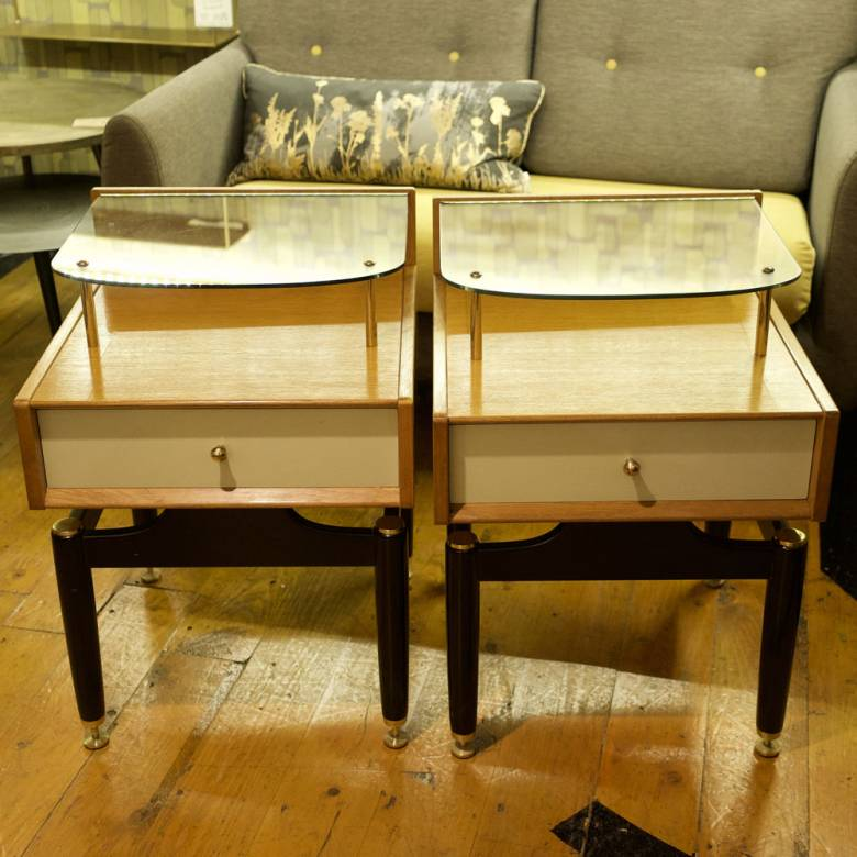 Pair Of G Plan 'Chinese White' Range Bedside Tables