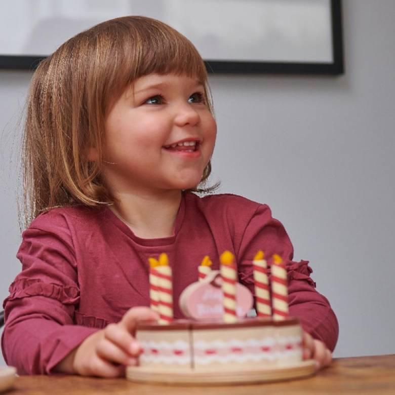 Chocolate Birthday Cake Wooden Play Food Set 3+