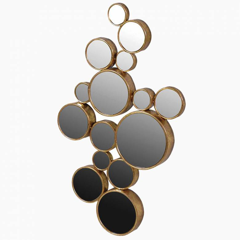 Large Circles Mirror - 15 Round Gold Mirrors 61x103cm.