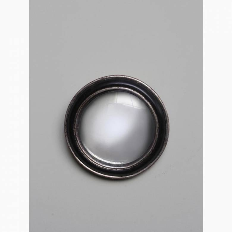 Circular Convex Mirror With Black Silver Patinated Frame D:19cm