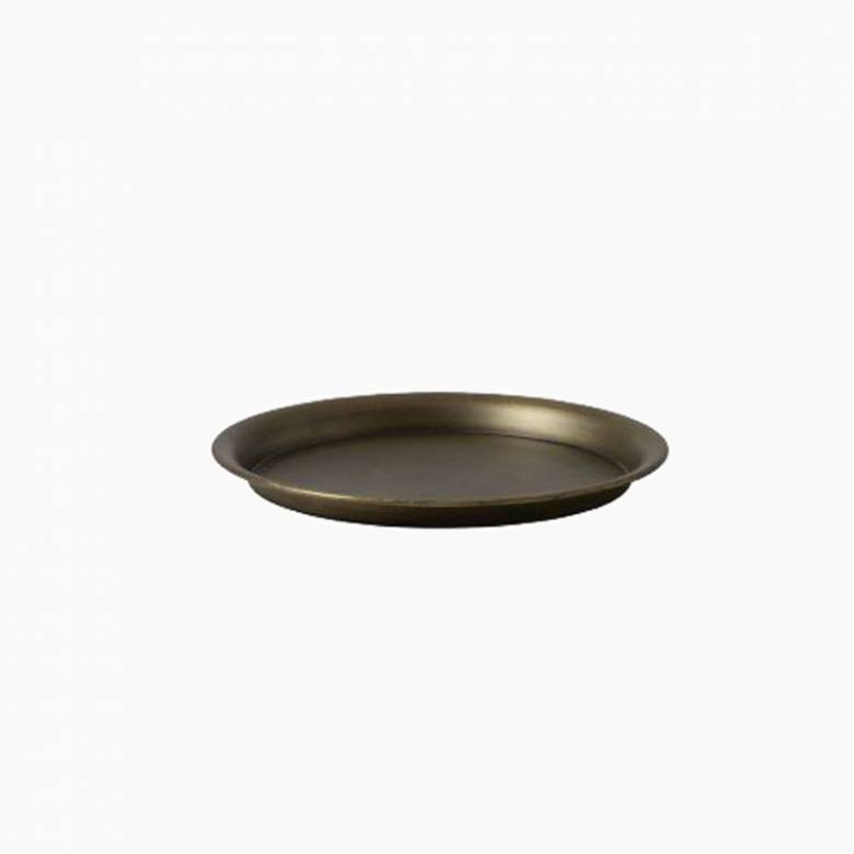 Circular Metal Tray In Antique Bronze