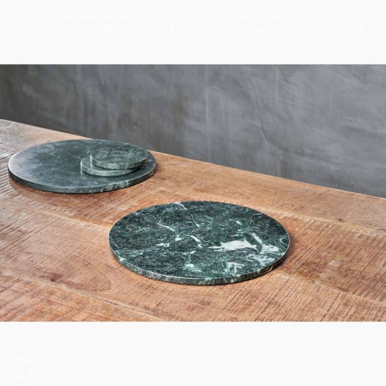Circular Solid Green Marble Tablemat