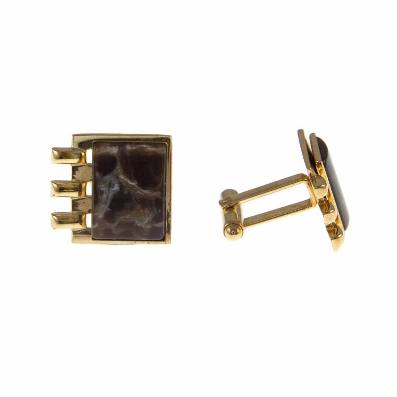 Vintage 1940s Square Gold Plated Cufflinks With Bakelite Stone