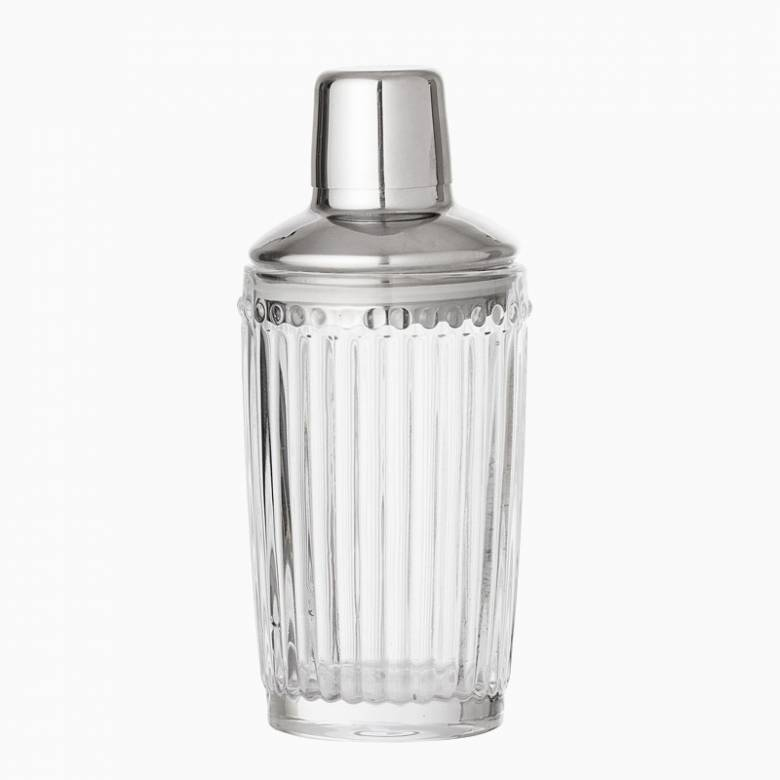 Clear Ribbed Glass Deco Style Cocktail Shaker