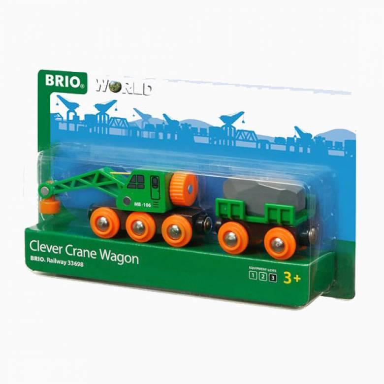 Clever Crane Wagon BRIO Wooden Railway Age 3+