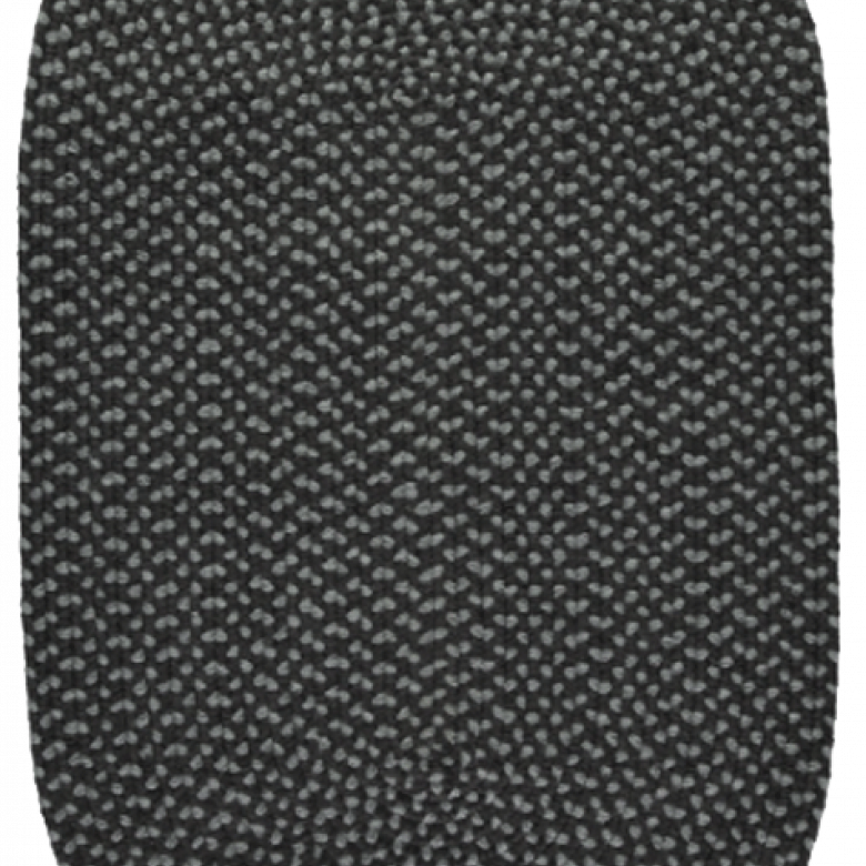 Coal Pewter Oval Braided Rug Recycled Plastic 61x91cm