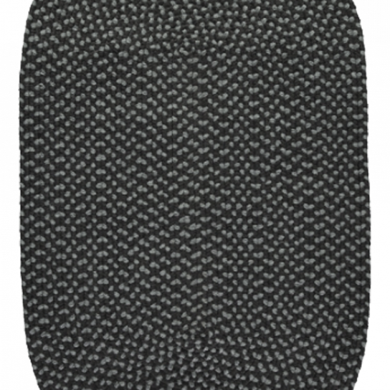 Coal Pewter Oval Braided Rug Recycled Plastic 61X183cm