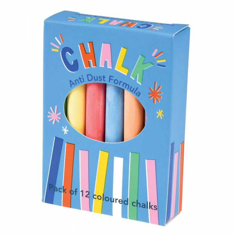 Box Of 12 Coloured Chalk Sticks