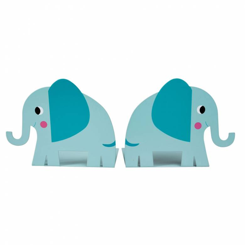Elephant Bookends Metal Pair