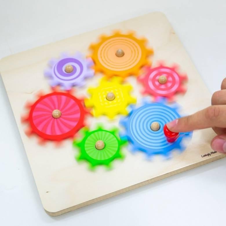 Colourful Wooden Cog Puzzle 10m+