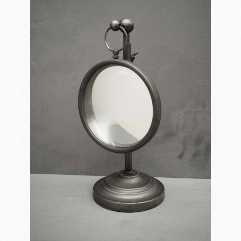 Small Convex Table Mirror On Adjustable Metal Stand