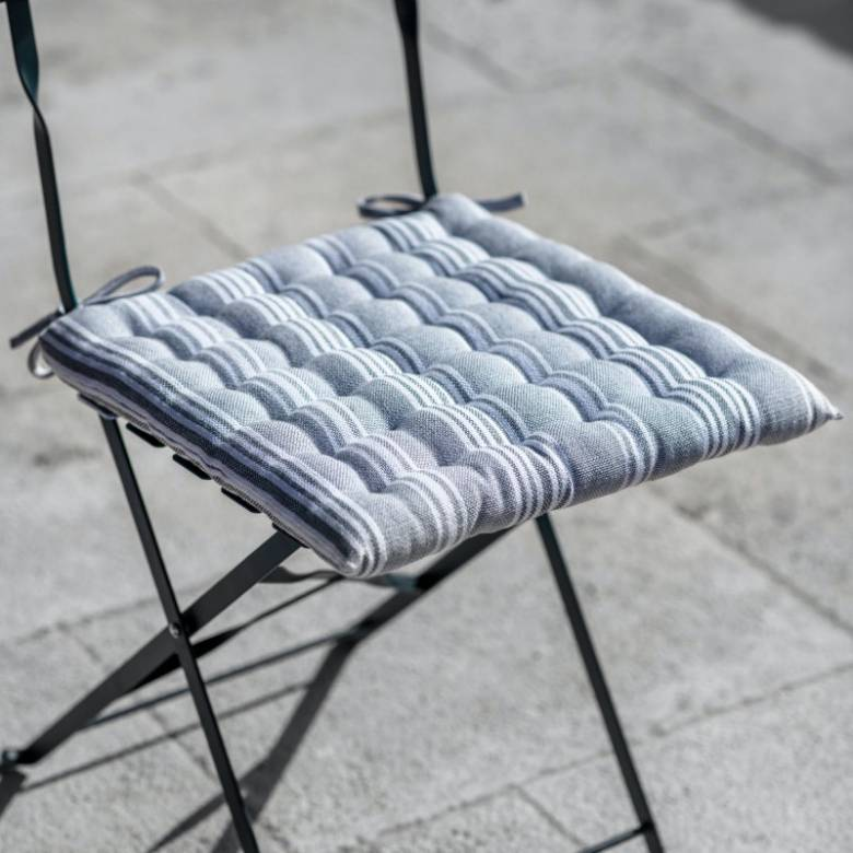 Cotton Seat Pad In Earl Grey Stripe