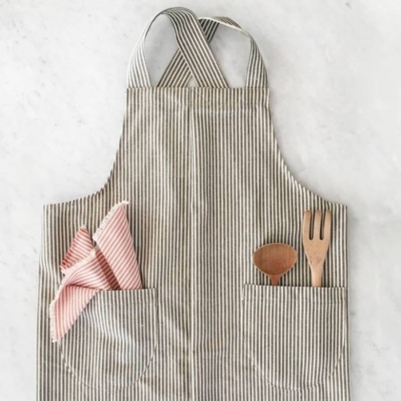 Cotton Striped Apron In Olive Green
