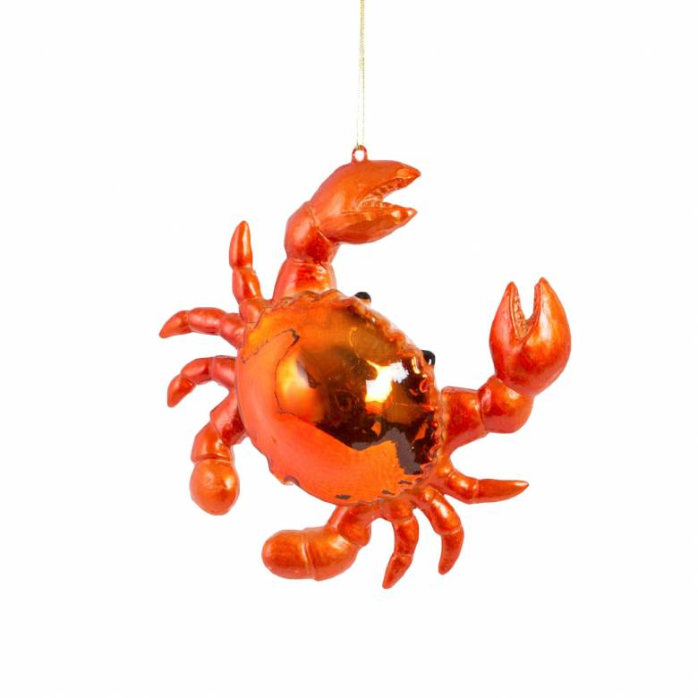Metallic Crab Glass Christmas Decoration